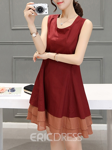 Ericdress Patchwork Round Collar Pleated A Line Dress