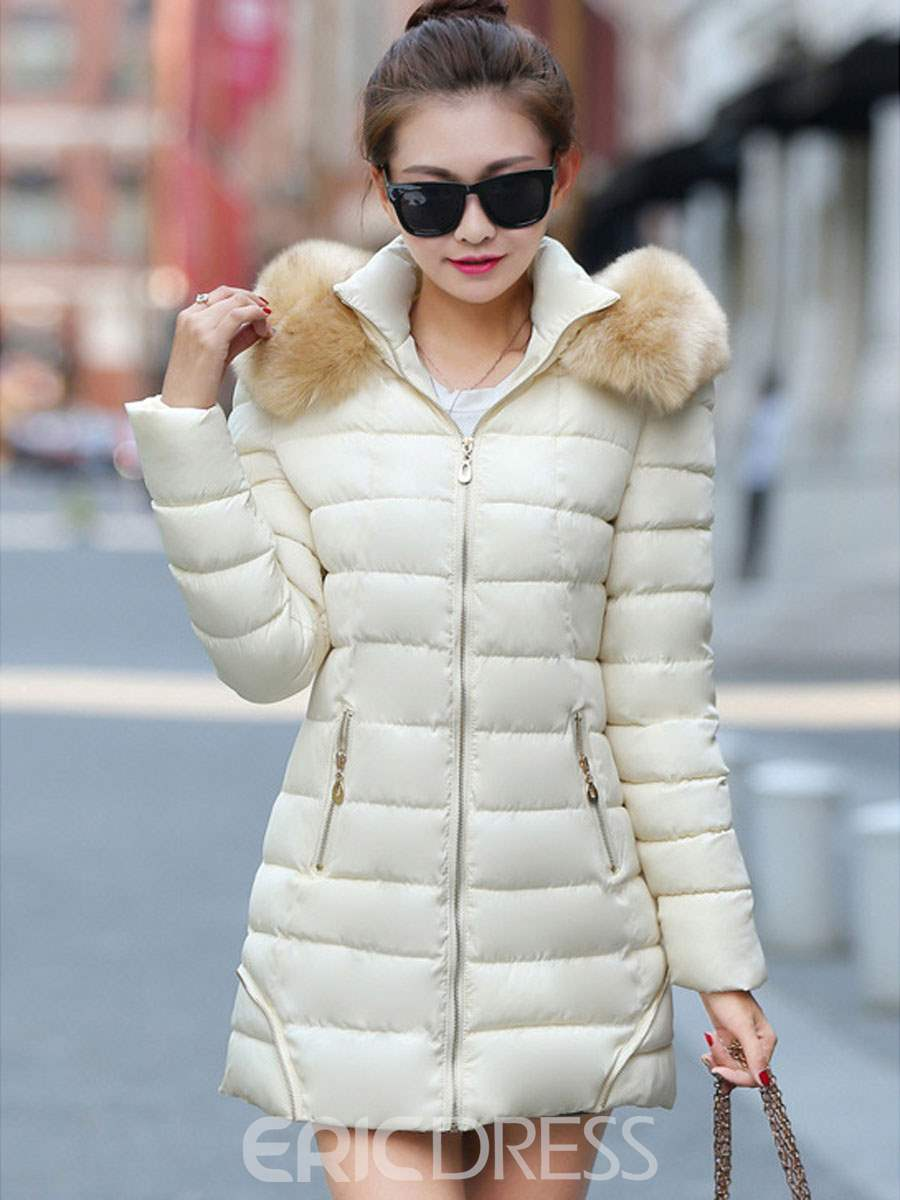 Ericdress Slim Color Block Zipper Hooded Coat