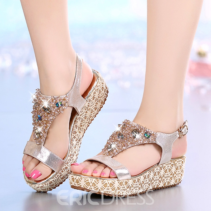 Ericdress Fashion Rhinestone Open Toe Flat Sandals