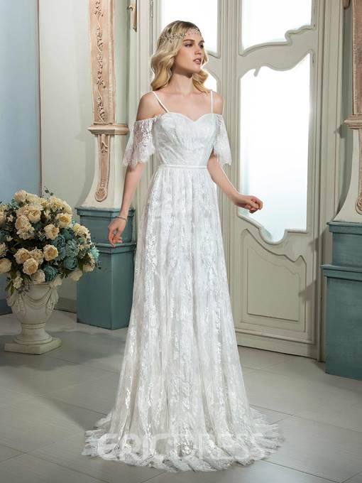 Ericdress Spaghetti Straps Lace Wedding Dress with Sleeve