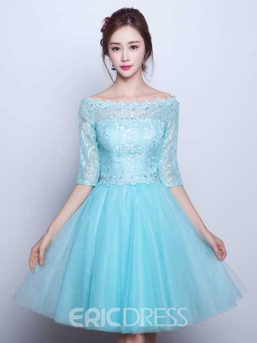 Ericdress A-Line Off-the-Shoulder Half Sleeves Beading Lace Homecoming Dress