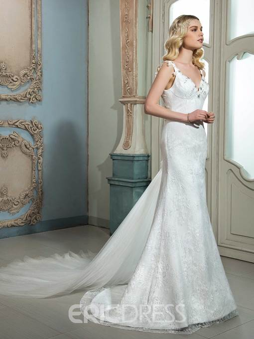 Ericdress Charming Beaded V Neck Backless Lace Wedding Dress