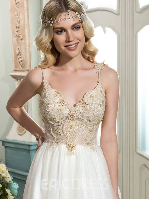 Ericdress Spaghetti Straps Beaded Lace Wedding Dress