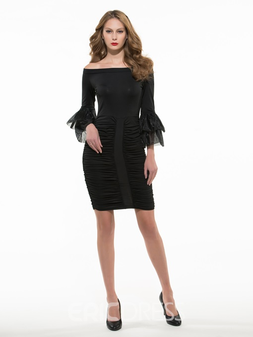 Ericdress Solid Color Bell Sleeve Pleated Bodycon Dress