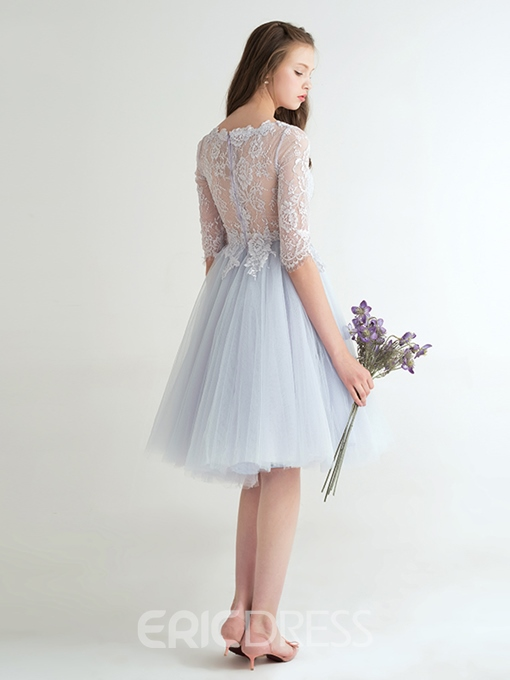 Ericdress A-Line Scoop Half Sleeves Lace Knee-Length Homecoming Dress