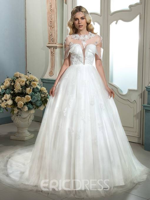 Ericdress Fashionable Illusion Neckline A Line Wedding Dress With Sleeves