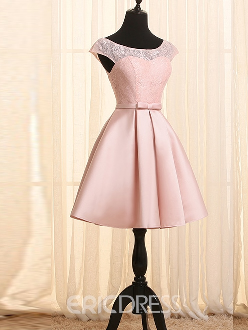 Ericdress A-Line Scoop Cap Sleeves Lace Sashes Short Homecoming Dress