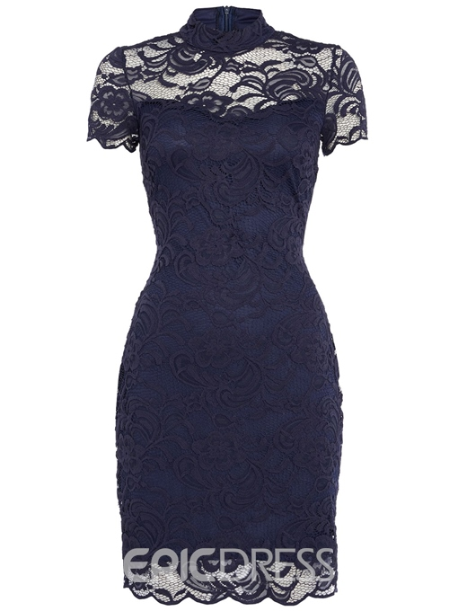 Ericdress Solid Color Stand Collar Short Sleeve Lace Dress
