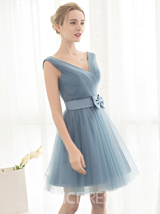 Ericdress A-Line V-Neck Bowknot Pleats Sashes Short Homecoming Dress