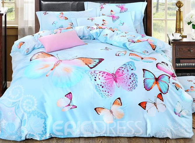 Vivilinen Colorful Butterflies Design Blue 4-Piece Cotton Duvet Cover Sets