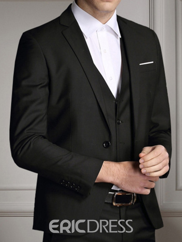 Ericdress Black Classic Three-Piece of Men's Suit