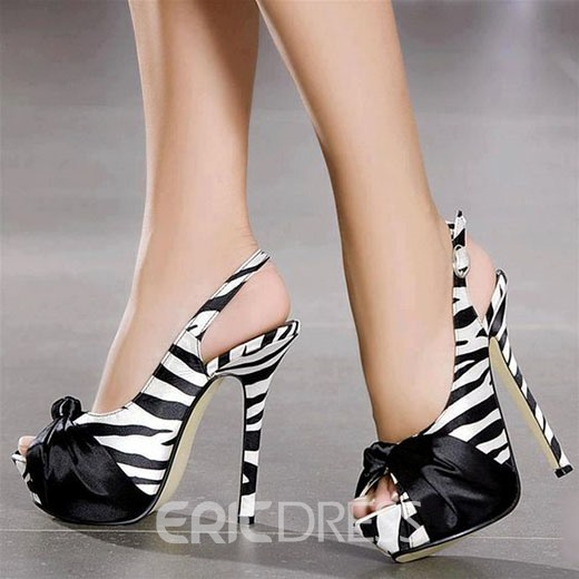 Ericdress Zebra Patchwork Peep Toe Stiletto Sandals