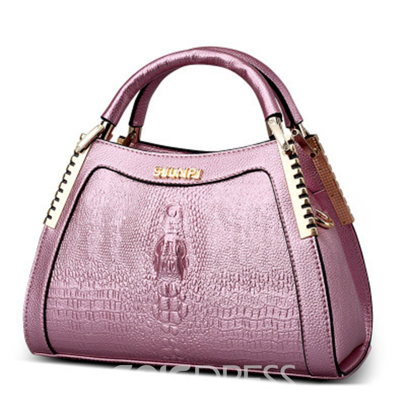 Ericdress Croco-Embossed Shell Handbag
