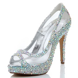 ericdress rhinestone peep toe slip-on stiletto tacón zapatos de boda