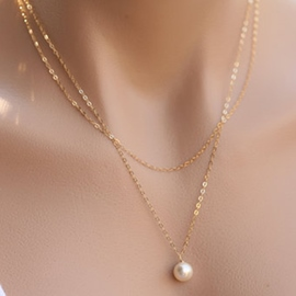 Ericdress Double Layers Pearl Pendant Necklace