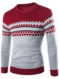 Ericdress Color Block Jacquard Vogue Men's Sweater