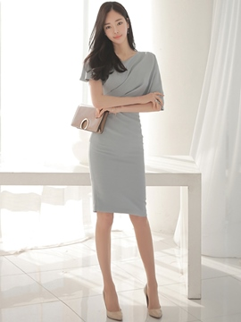 Ericdress OL Style Soild Color Pleated Sheath Dress