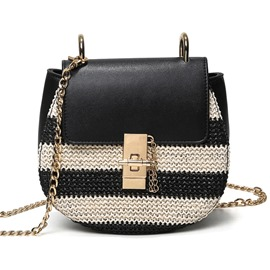 Ericdress Korean Color Block Weaved Crossbody Bag