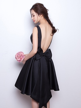 Ericdress a-ligne Scoop Bowknot Backless court Homecoming robe