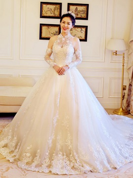 Ericdress Beautiful Appliques Beaded High Neck Ball Gown Wedding Dress