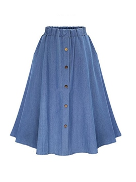 Ericdress Solid Color Buttons Usual Skirt