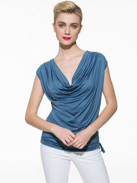 Ericdress Solid Color Pleated Heap T-Shirt