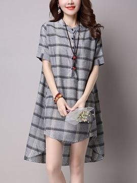 Ericdress Loose Plaid Short Sleeve Casual Dress