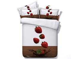 Fresh Strawberries with Water Splash Cotton 4-Piece 3D Bedding Sets/Duvet Covers