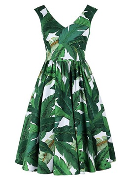 Ericdress Beach Print Sleeveless A Line Dress