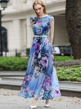 Ericdress Flower Print Round Neck Short Sleeve Expansion Maxi Dress
