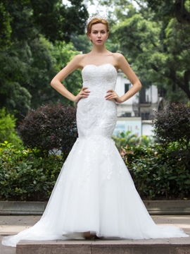 Ericdress Classic Appliques Beaded Sweetheart Mermaid Wedding Dress