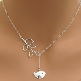 Ericdress Leaf & Bird Pendant Necklace