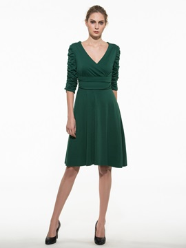 Ericdress Plain V-Neck Half Sleeve Casual Dress