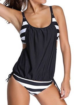 Ericdress Patchwork Stripe Casual Tankini Set