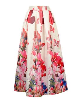 Ericdress Flower Print Pleated A-Line Usual Skirt