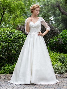 Ericdress Modest V Neck A Line Wedding Dress With Sleeves