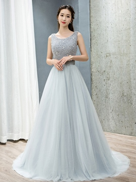 Ericdress A-Line Scoop Pearls Court Train Evening Dress