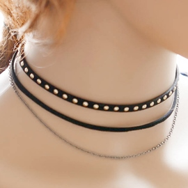 Ericdress Multilayer Rivets Decorated Choker Necklace