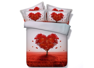 Heart Shaped Tree Printed Cotton 3D 4-Piece Bedding Sets/Duvet Covers