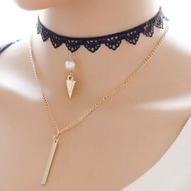 Ericdress Multilayer Lace Metal Pendant Necklace