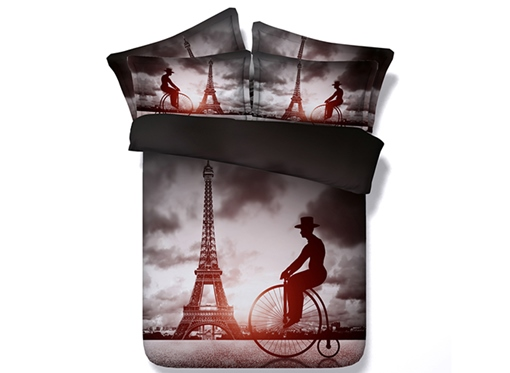 Big Wheel Bicycles and Paris Eiffel Tower Printed Cotton 3D 4-Piece Bedding Sets