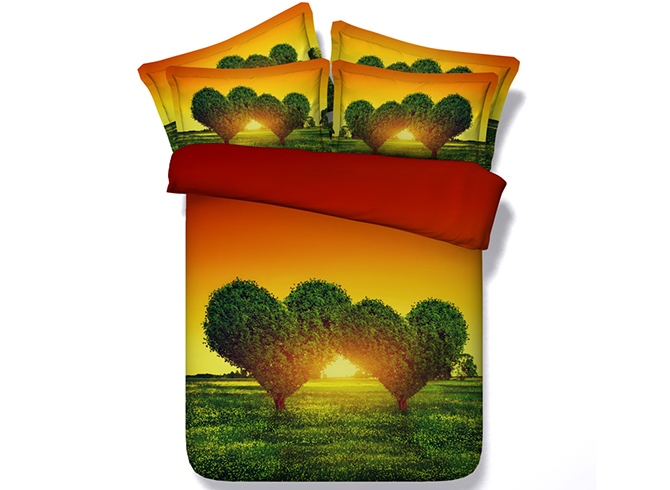 Green Heart-shaped Tree Printed Cotton 4-Piece 3D Bedding Sets/Duvet Covers