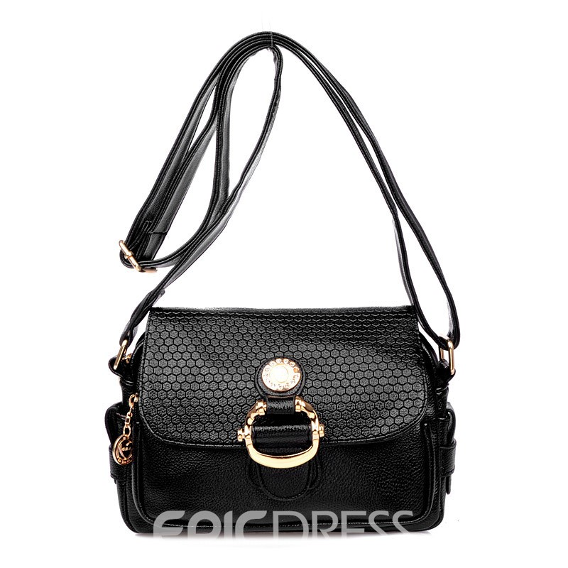 Ericdress Pure Color Embossed Crossbody Bag
