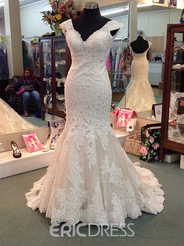 Ericdress Appliques Mermaid Plus Size Wedding Dress
