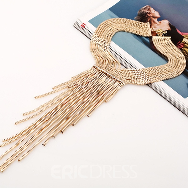 Ericdress Multilayer Metal Tassels Necklace