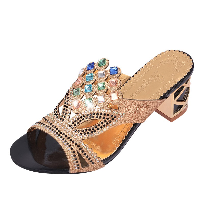 Ericdress Hollow Rhinestone Chunky Mules Shoes