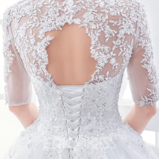 Ericdress Elegant Appliques Ball Gown Wedding Dress With Sleeves