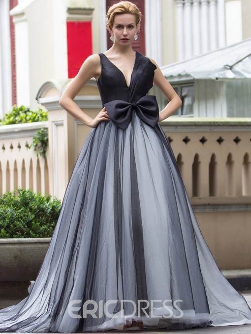 Ericdress V-Neck Ball Gown Bowknot Court Train Quinceanera Dress