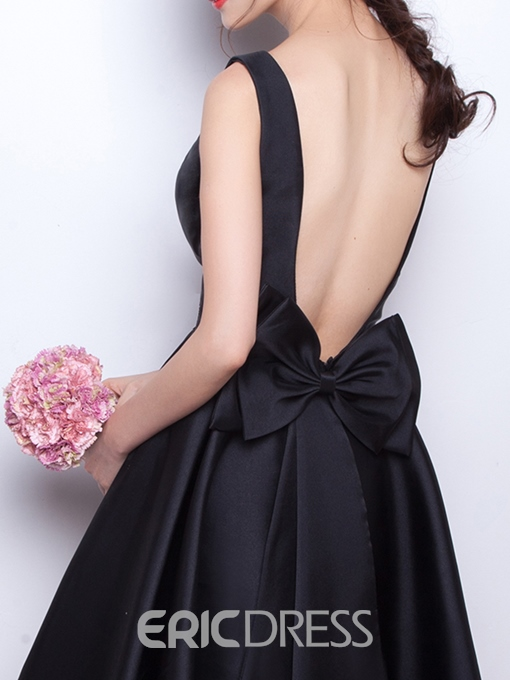 Ericdress A-Line Scoop Bowknot Backless Short Homecoming Dress