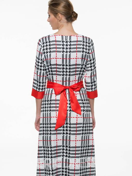 Ericdress Plaid Lace-Up Patchwork Maxi Dress